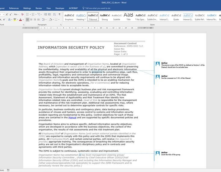 Example of the ISO 27001 Information Security Template, available to purchase from IT Governance