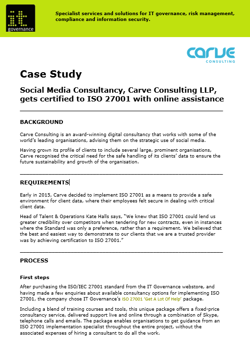 Case Study – Carve consulting | IT Governance