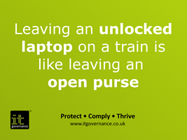 Leaving an unlocked laptop on a train is like leaving an open purse